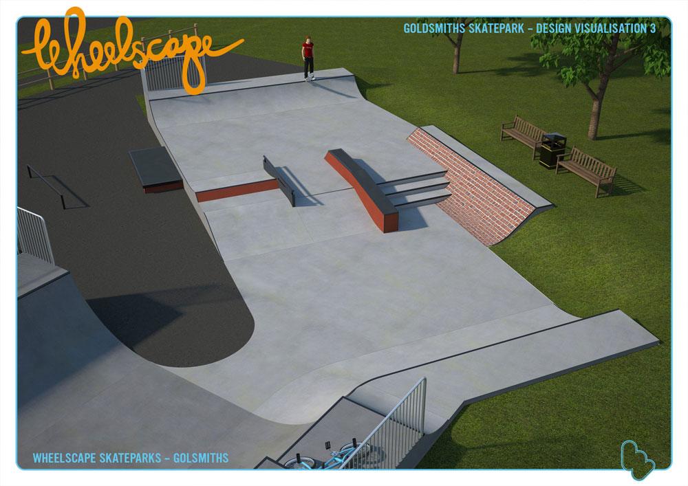 Visualisation of new skatepark at Goldsmiths in Crowborough