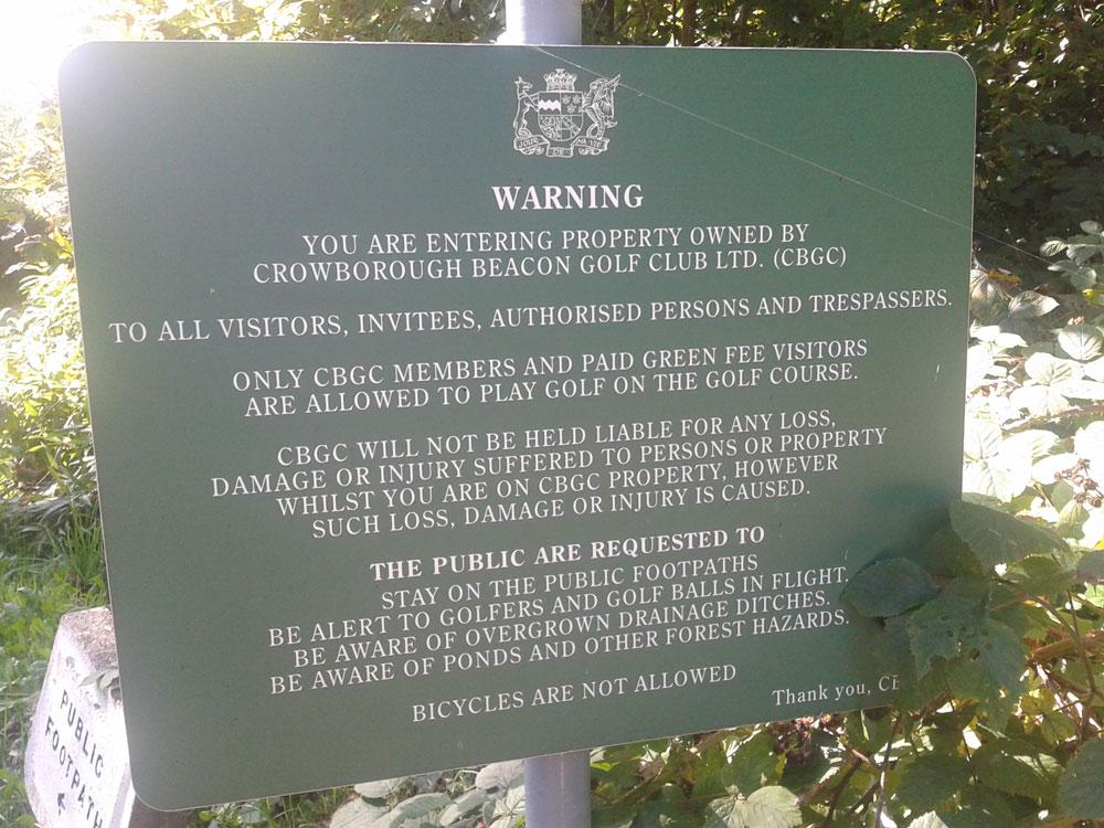 Warning Sign Crowborough Beacon Golf Club