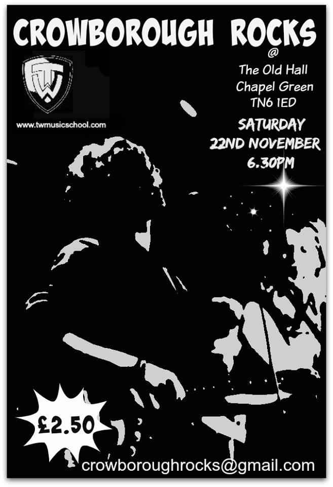 Crowborough Rock Old Hall Chapel green Crowborough Saturday 22nd November 2014 6.30pm