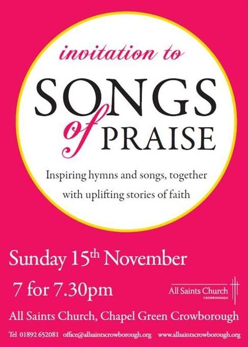 Songs of praise All Saints Church Crowborough Sunday 15th November 2015