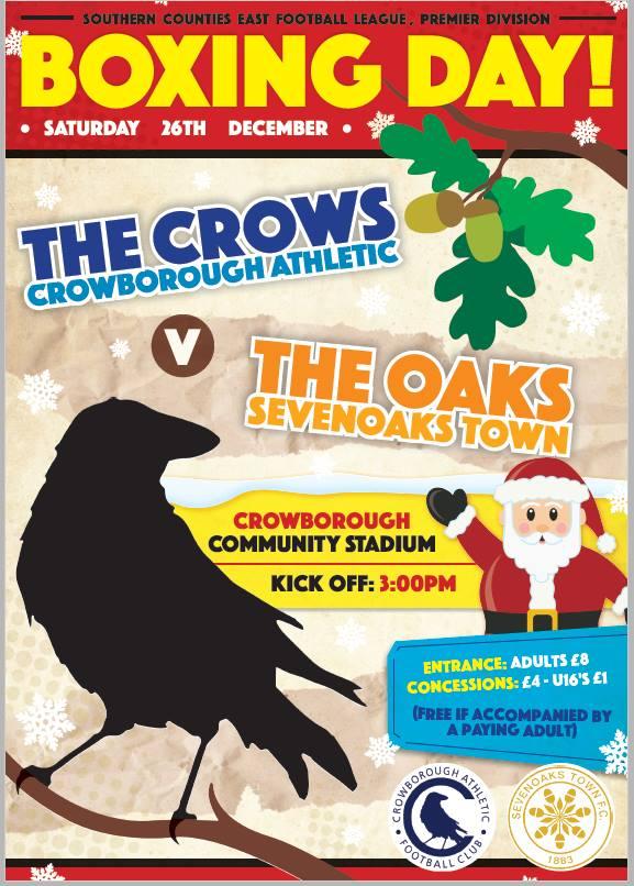 Crowborough Athletic Football Club v Sevenoaks Boxing Day 26th December 2016 3pm kickoff