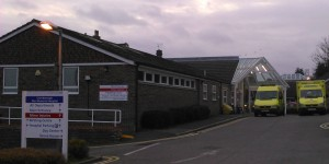 Crowborough Hospital with Two Ambulances Outside