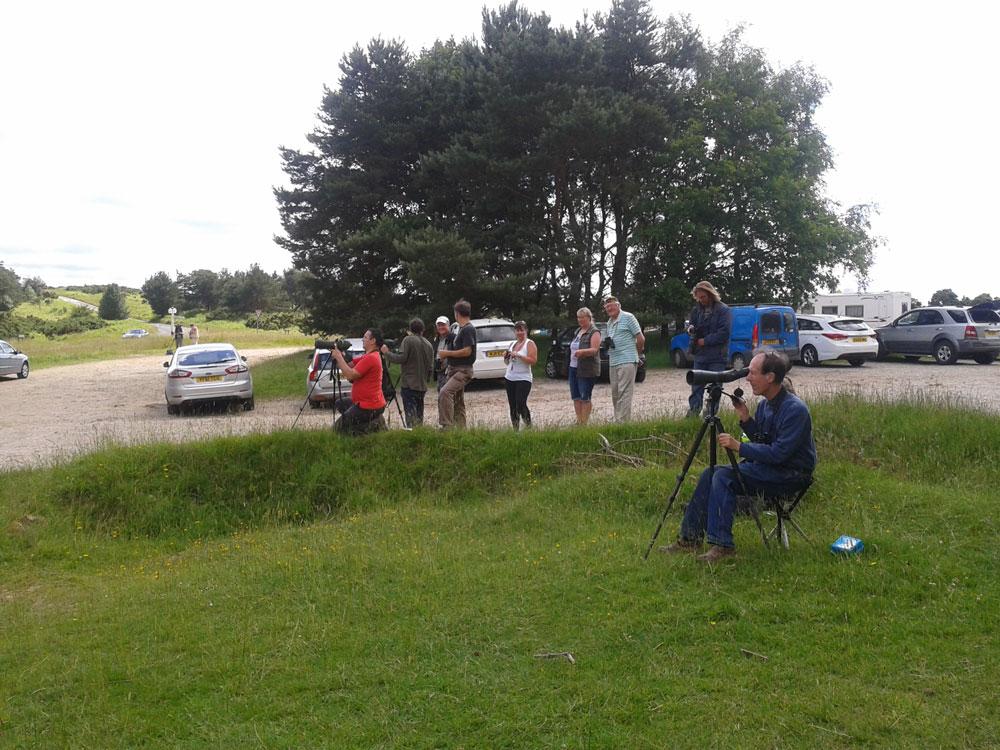 Bird-watchers in Gills Lap car park