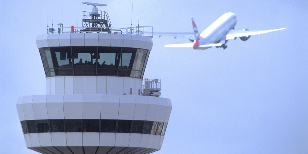 Gatwick Control Tower with Aircraft