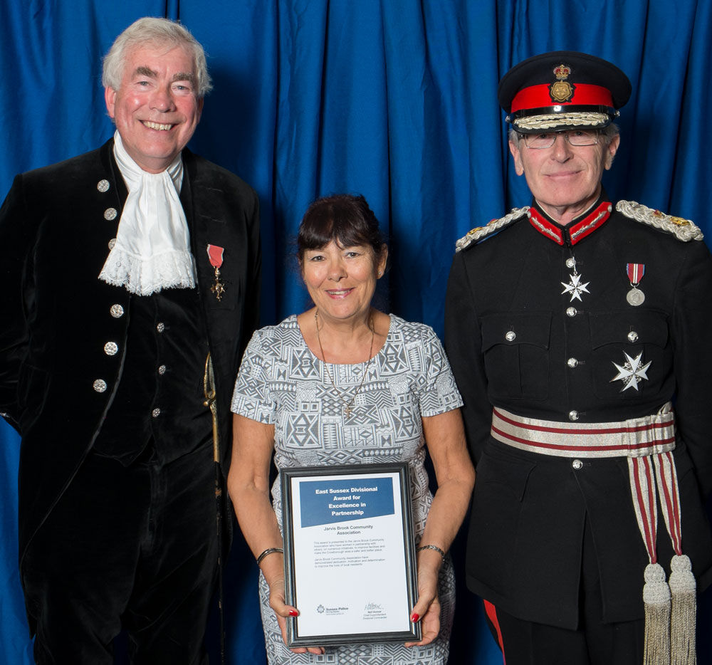 Pictured with Carolyn is the High Sheriff, Christopher Gebbie (left) and the Lord Lieutenant Peter Field