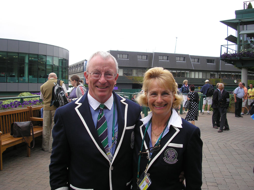 Tennis umpire Jim Hollins with his wife Jackie at Wimbledon