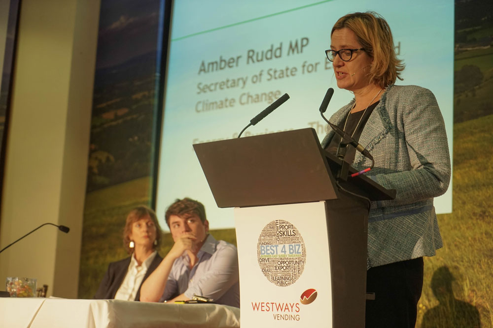 Amber Rudd, Secretary of State for Energy and Climate Change, speaks at the BEST4Biz conference, watched by Becky Shaw, East Sussex County Council Chief Executive, and Josh Valman of RPD International.