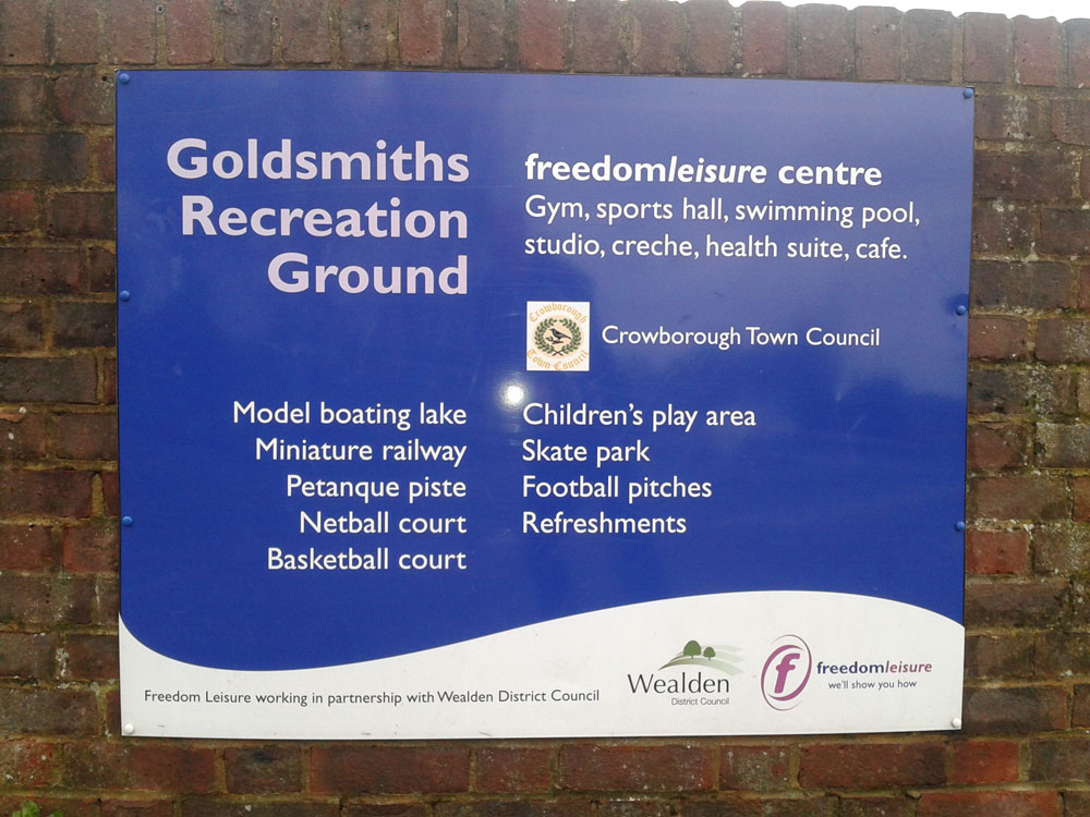 Goldsmiths Recreation Ground sign entrance Eridge Road Crowborough