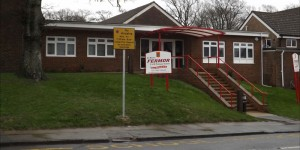 Sign showing parking restrictions on Zig-Zag lines outside Fermor School