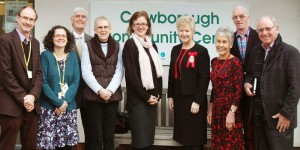 High Sheriff East Sussex photograped outside Crowborough Community Centre with staff and Board Members during her visit