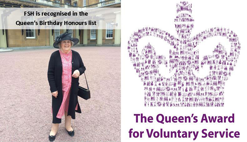 Sue Renshaw from the Friends of Sussex Hospices attending a garden party at Buckingham Palace in May