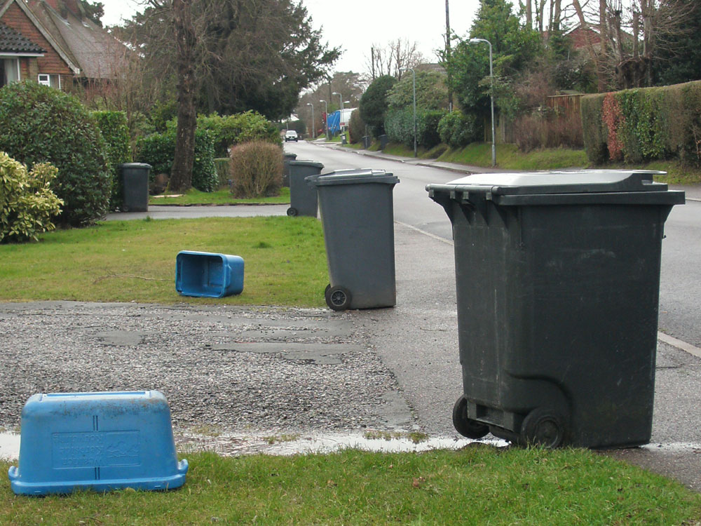 wheelie bins along Southview Road in Crowborough