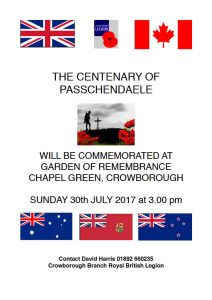 Ceremony to mark the 100th anniversary of the Battle of Passchendaele on Chapel Green in Crowborough