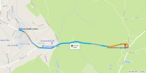 Google Map showing Rotherfield Surgery and the Brook Heath Centre in Crowborough