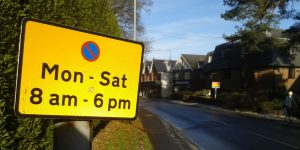 No Parking Sign Monday to Saturday 8am until 6pm Croft Road in Crowborough
