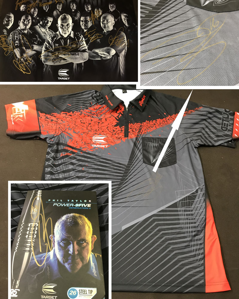 Phil Taylor signed darts shirt and darts