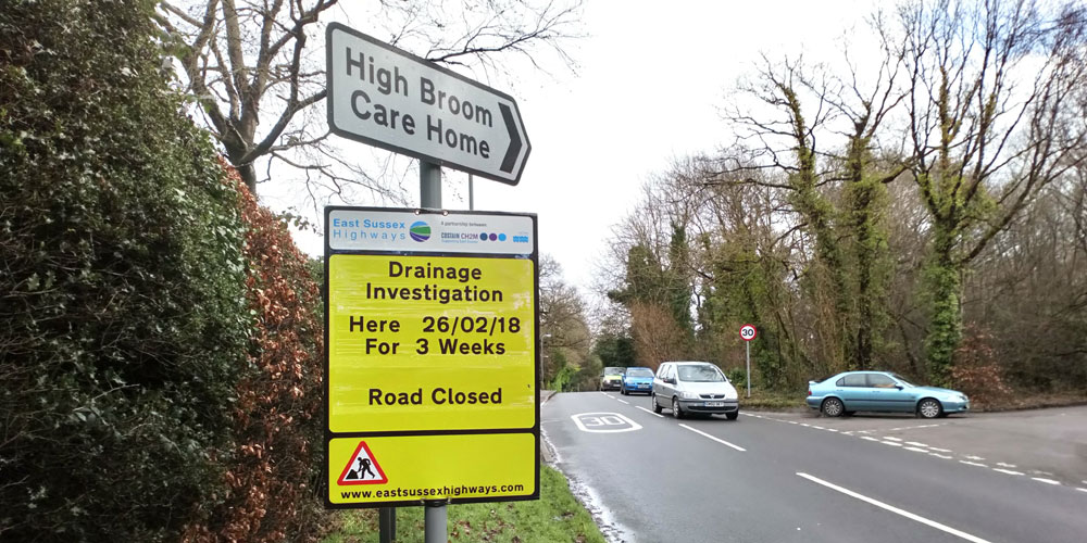 Hurtis Hill closed for 3 weeks from Monday 26th February 2018 for drainage investigation work at the bottom of Harlequin Lane in Crowborough