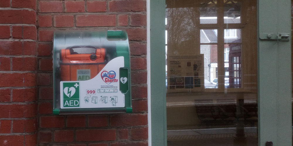 AED defibrillator Crowborough railway station