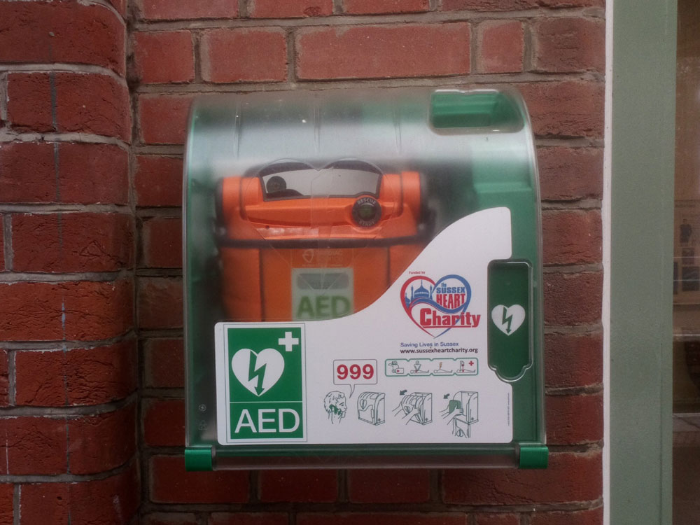 AED heart defibrillator on the platform at Crowborough railway station