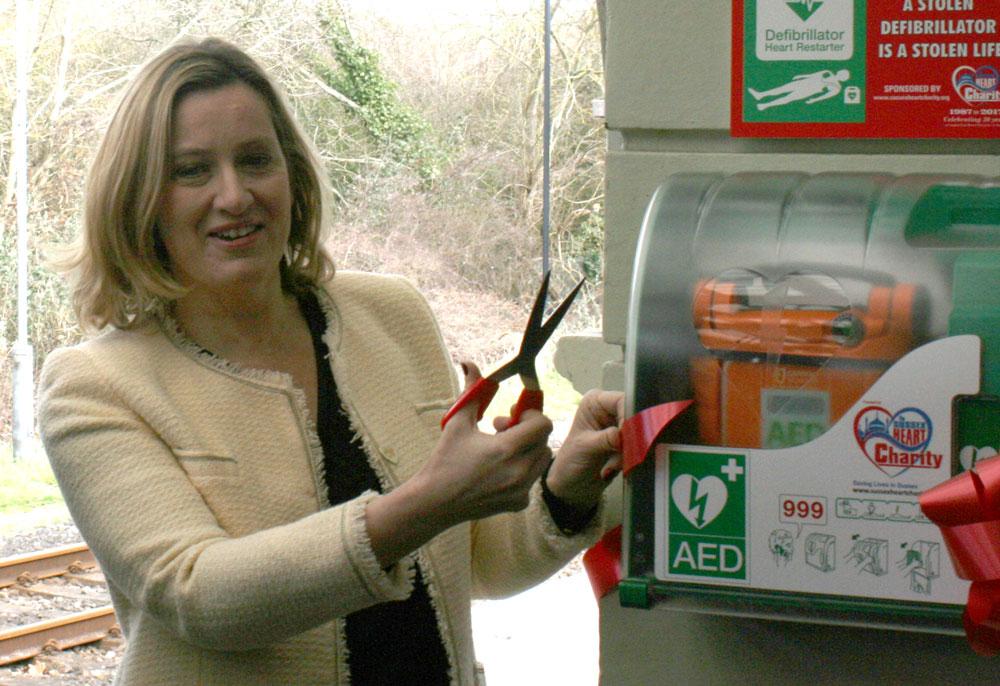 Amber Rudd Mp Rye station AED defibrillator