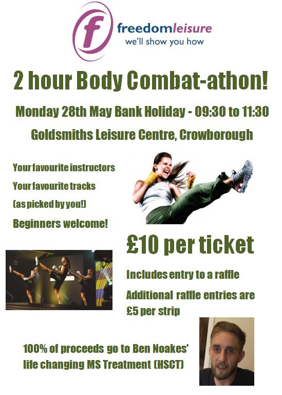 Body Combat-athon on Monday 28th May at Crowborough Leisure Centre