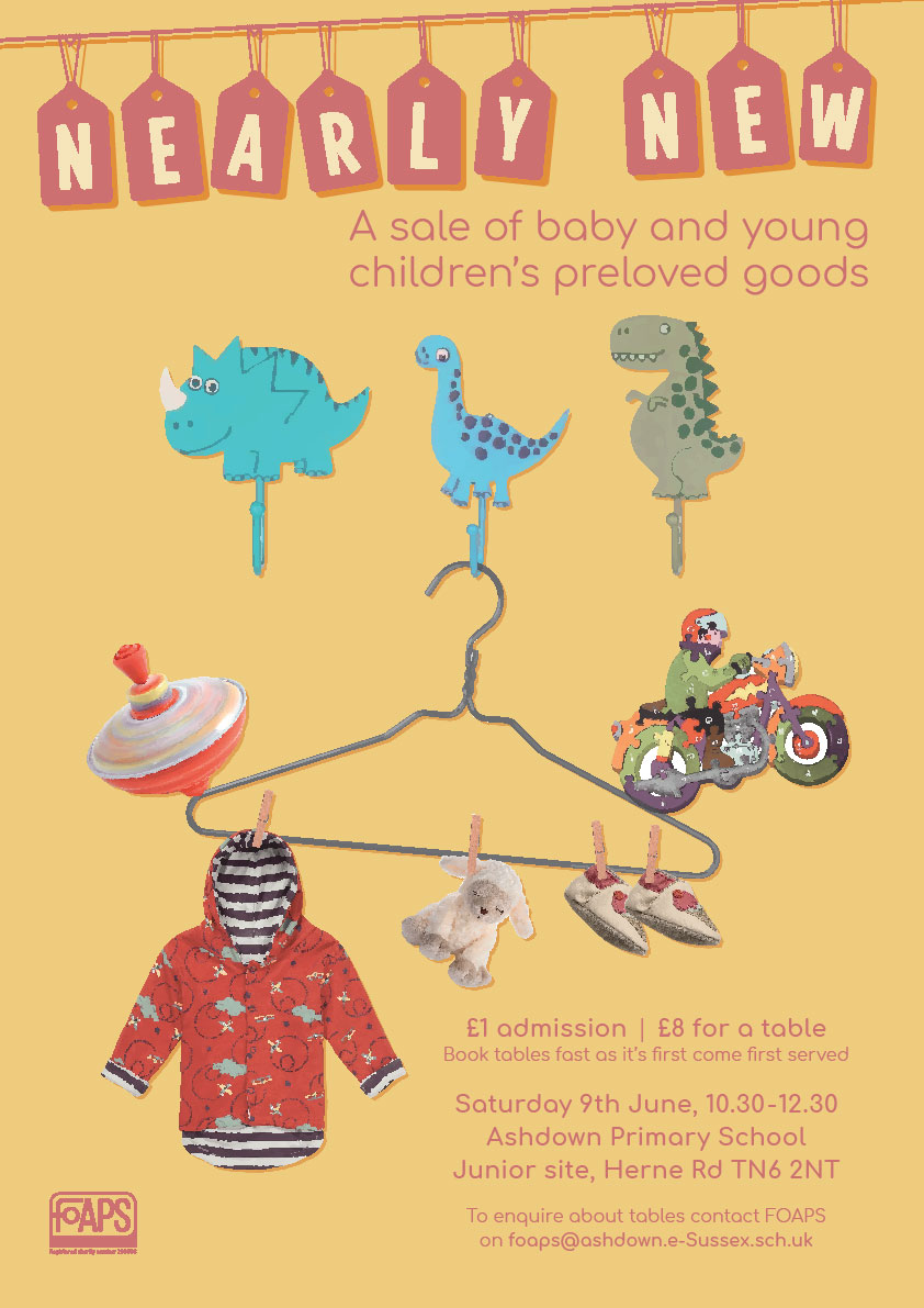 Nearly New Sale: Baby and Children's Pre-loved goods on Saturday 9th June 2018 at Ashdown Primary School in Crowborough.