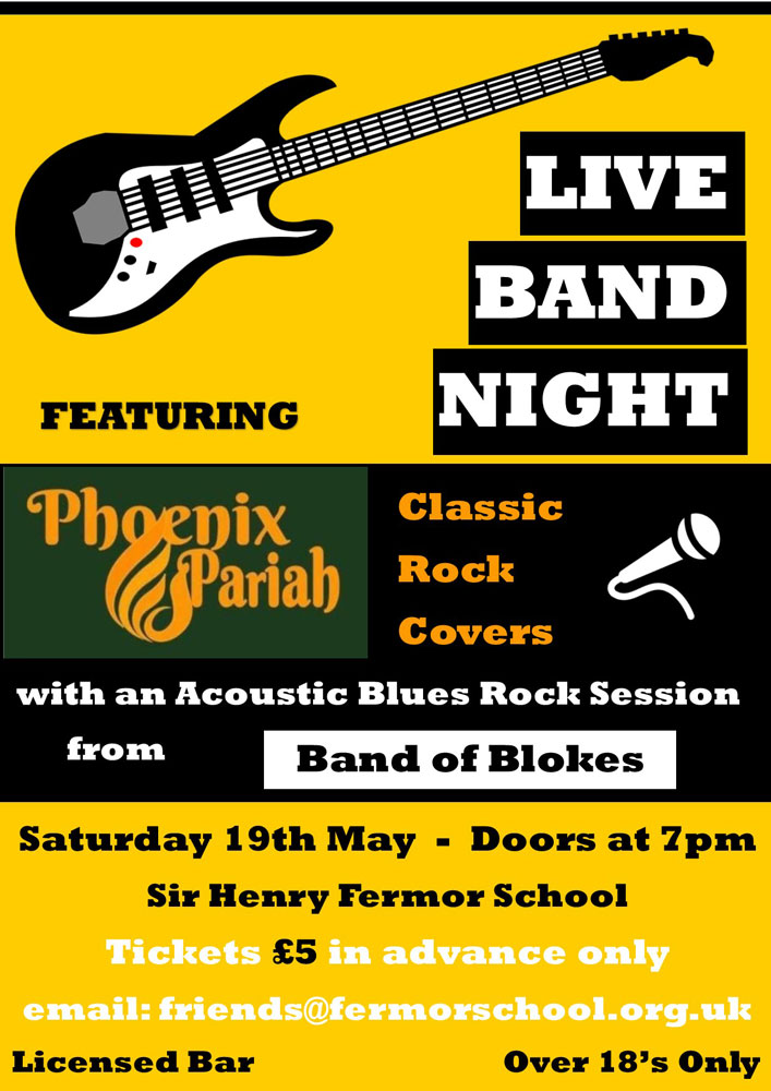 Live Bands Night at Fermor School in Crowborough on Saturday 19th May 2018.