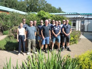 Staff from Openreach, part of the BT Group, Openreach spent a day gardening and painting furniture at the therapy garden at the Horder Centre in Crowborough
