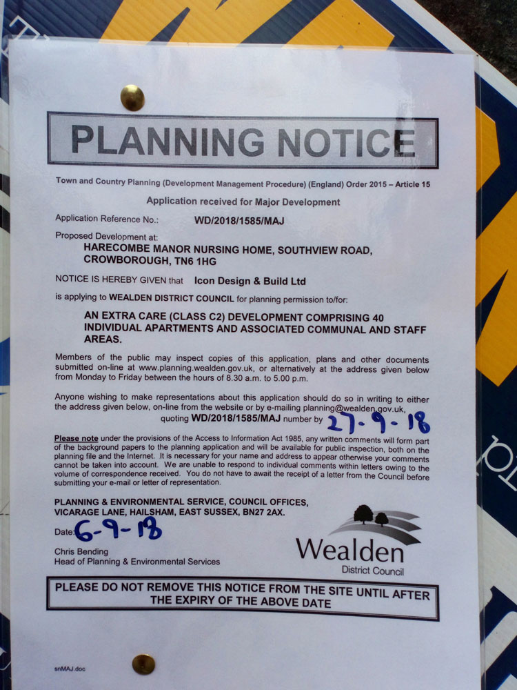 Wealden District Council - Planning Notice WD/2018/1585/MAJ Harecombe Manor Nursing Home