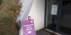 Temporary Library sign at Beacon Academy in Crowborough