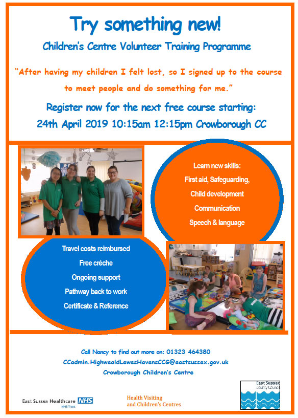 Children's Centre Volunteering Programme starting April 2019