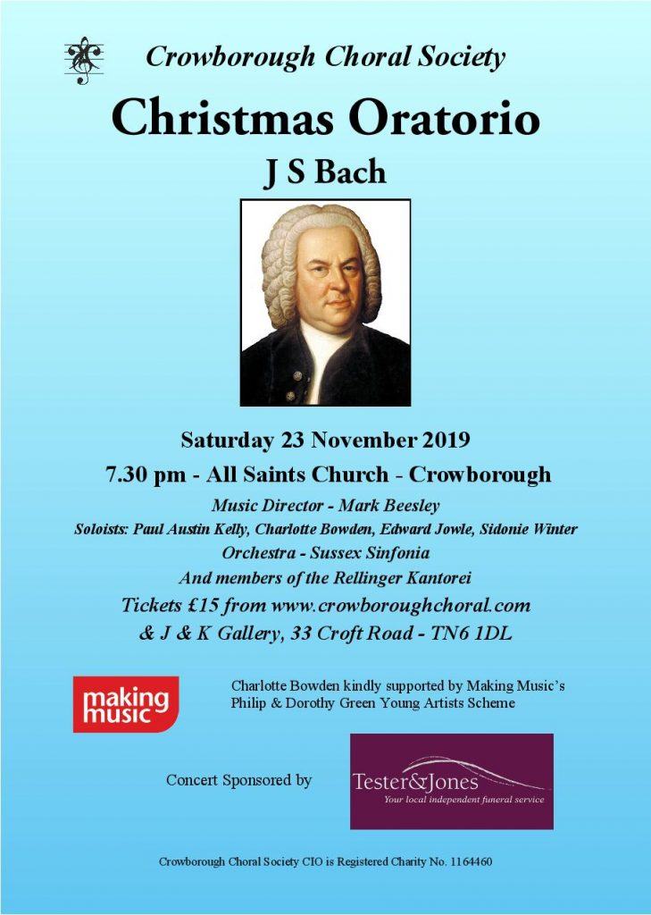 Crowborough Choral Society will perform the Bach Christmas Oratorio on Saturday 23 November 2019 at All Saints' Church in Crowborough.