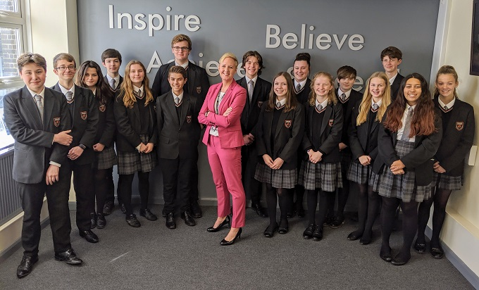 Headteacher, Anna Robinson, with the school's Senior Student Leadership Team