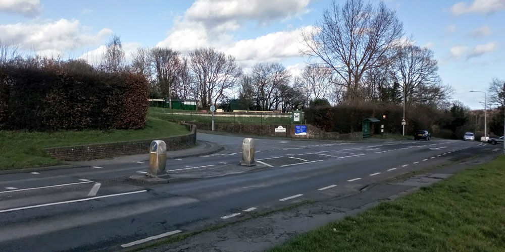 Entrance to Goldsmiths Leisure Centre and Recreaction Ground off A26 Eridge Road in Crowborough