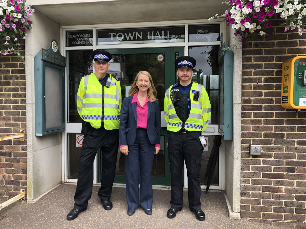 Katy Bourne Sussex Police and Crime Commissioner photographed outside Crowborough Town Hall with two PCSOs.