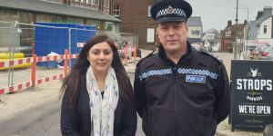 Wealden MP Nus Ghana with DCI Alasdair Henry, police commander for Wealden. Photographed on Croft Road in Crowborough.