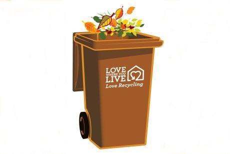 Brown Garden Wast Wheelie Bin