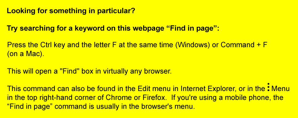 Find in page (search for a keyword or phrase in your internet browser)
