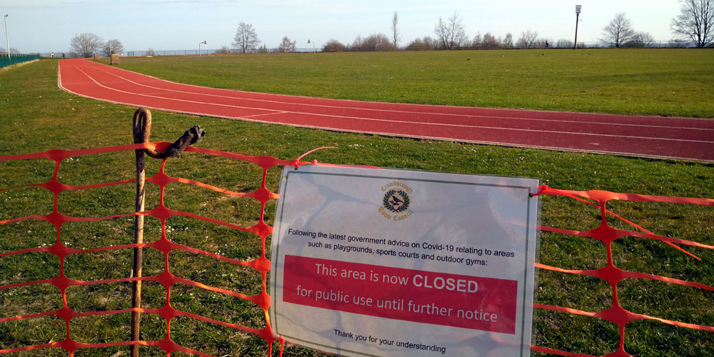 Notice at the running track at Goldsmith Recreation Ground in Crowborough
