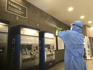 Electrostatic spray guns used to applylong-lasting viruscide- Blackfriars 2