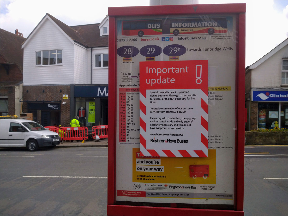 "Timetable at bus stop on Crowborough Broadway - notice ""Important update"""