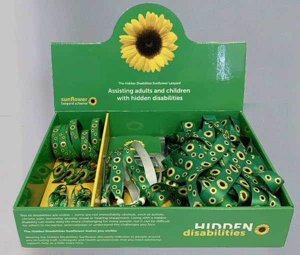 Display box of Hidden Disabilities Sunflower Lanyards