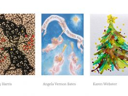 Crowborough Arts Christmas Card winners: Karen Webster, Angela Vernon Bates and Mary Harris.