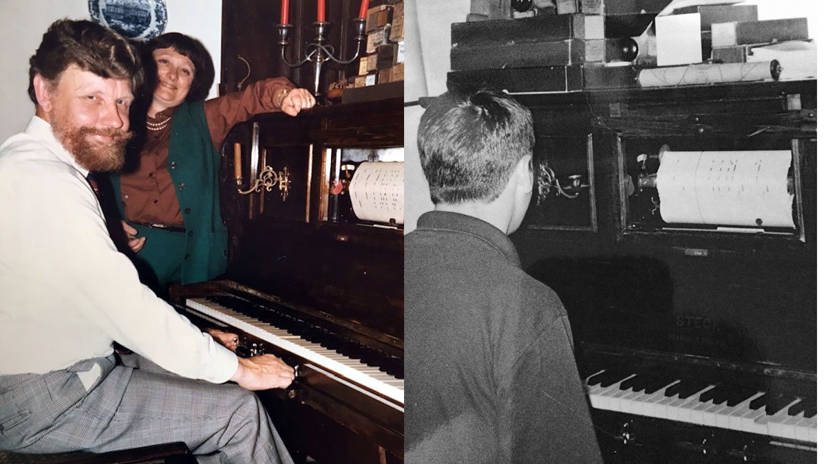 Left: Roger and his wife Polly enjoying the Pianola, c1983 and right: A grandson watching a roll.