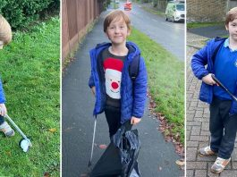 Alex Kirtkness-O'Boyle litter picker aged 6 Crowborough