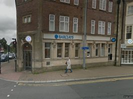 Barclays Bank Branch at 1 High Street Crowborough (photo from Google Street View)