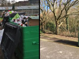 """Bring Site"" recycling centre in Jarvis Brook before and after change"