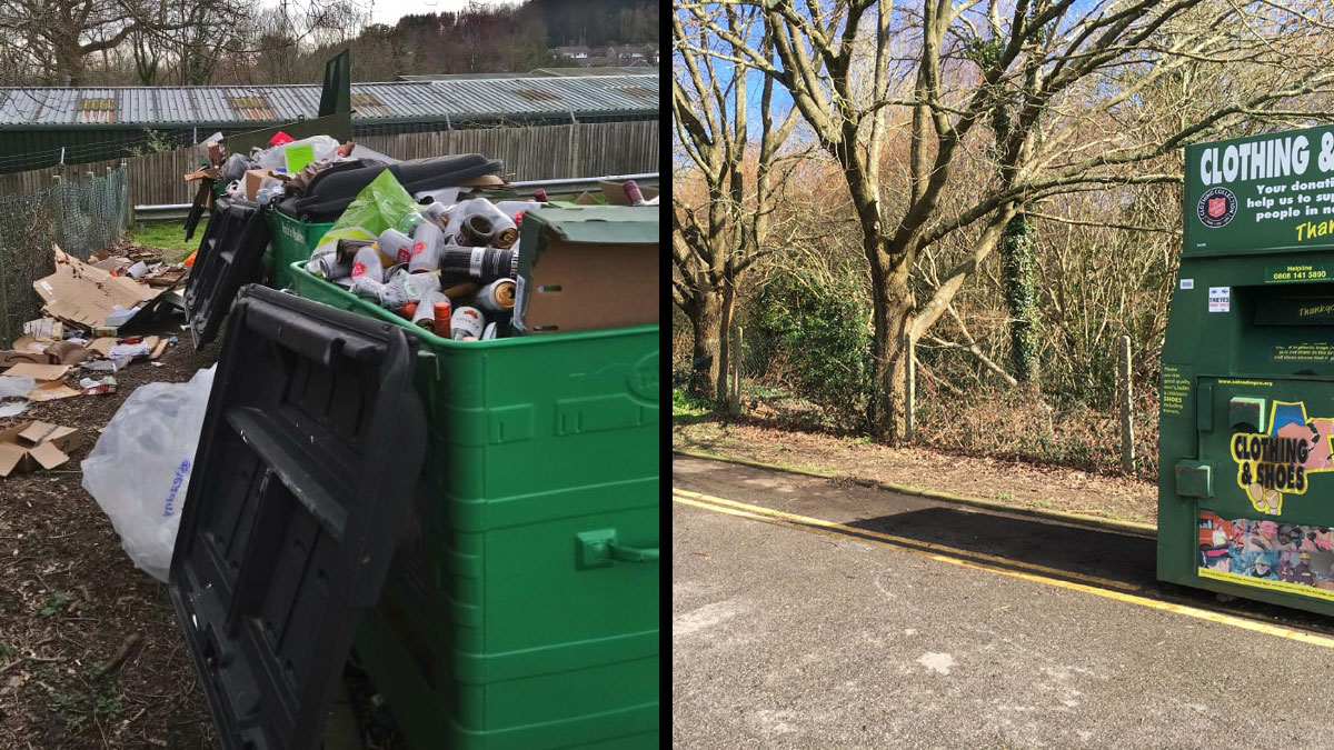 """""""Bring Site"""" recycling centre in Jarvis Brook before and after change"""