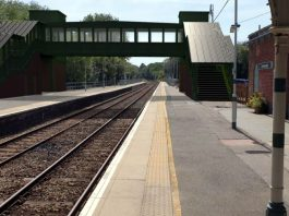 CGI image showing the new footbridge and lifts at Crowborough railway station