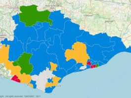 Map showing east Sussex County Council seats after May 2021 election